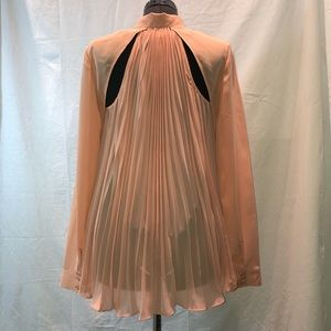 Guess Peach Pleated Sheer Cut Out Blouse, L
